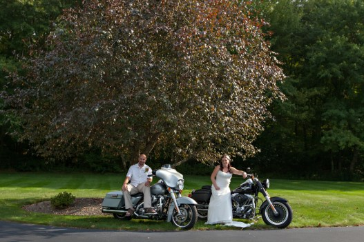 The bride & groom included their Harley Davidson Motorcycles in their photos. Photo by Shoreshotz Weddings.