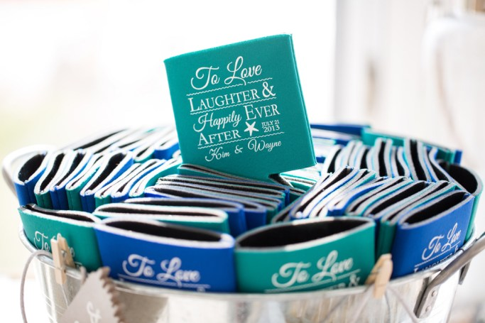 Custom Wedding Coozies designed by SKO Designs. Beach wedding at Sea Crest Beach Hotel in Falmouth, Cape Cod, Mass. Photo courtesy of Nicole Lopez Photography.