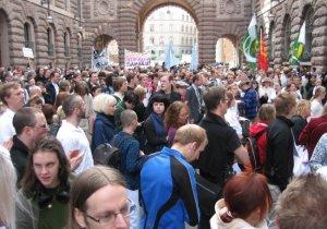 Demonstrasjonar mot loven i Stockholm 08.06.08