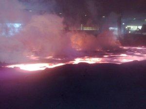 Eldsmørja storknar ved Finnfjord smelteverk