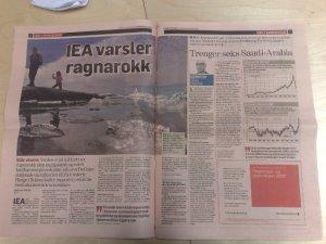 Dagens Næringsliv og IEA kan ikkje heilt bli samde om kva som er verst, klimaendringar eller lite olje