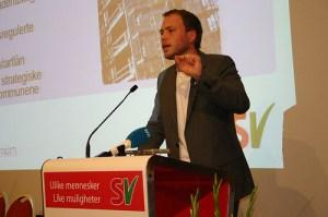 Nestleiar i SV, Audun Lysbakken, legg fram utkastet til Arbeidsprogram Foto: SV