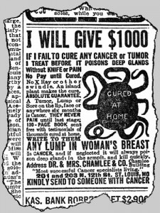 Quack advert for the cure of cancer