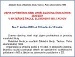 Zápis do MŠ dne 7.května 2020 od 10 hodin do 15hodin