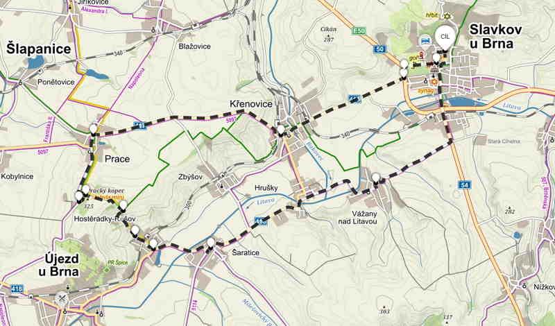 Výlet na Mohylu míru s koloběžkou - mapa