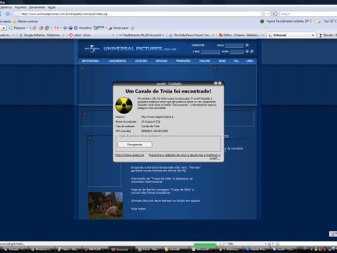 Alerta do Avast: cavalo de tróia no site da Universal Pictures