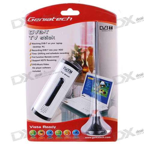 USB DVB-T TV Tuner Dongle with Full-Size Remote and Hi-Gain Antenna