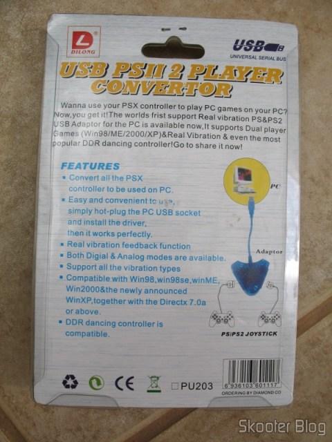 Parte traseira da embalagem do conversor USB de Playstation para PC da Dilong
