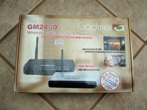 Caixa do Gadmei GM2400, kit transmissor e receptor de Áudio e Vídeo sem fio 2.4GHz