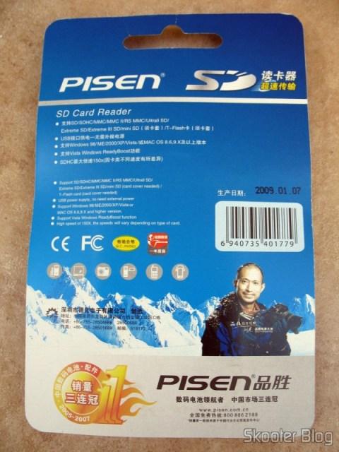 Parte traseira da embalagem do leitor de cartões SD da Pisen