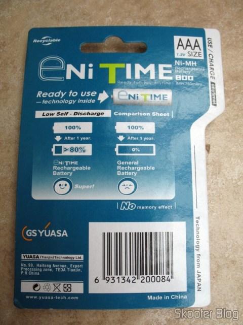 Verso da embalagem das pilhas recarregáveis GS Yuasa Enitime