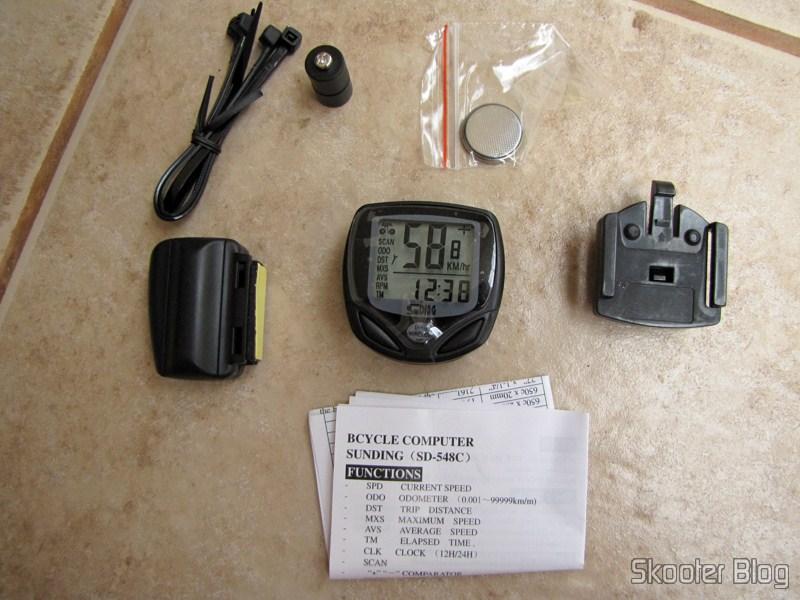 9255efa77 Braçadeiras, magneto, bateria CR2032, tranmissor/sensor, computador,  suporte e manual