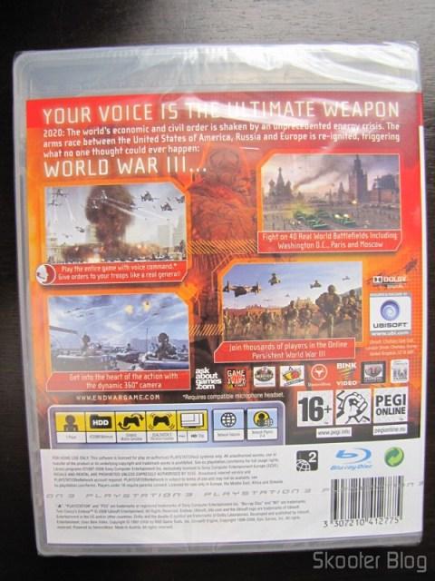 Parte traseira da caixinha do Tom Clancy's EndWar de Playstation 3
