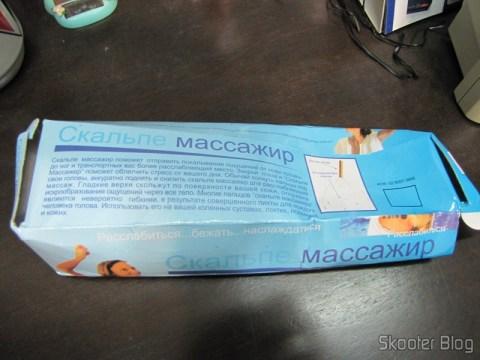Verso da embalagem do primeiro massageador