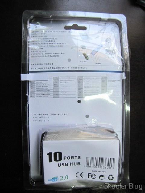 Parte traseira da embalagem do Hub USB 2.0 com 10 Portas e Fonte de Energia Externa