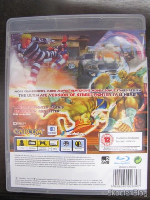 Parte traseira da capa do Super Street Fighter IV do PS3