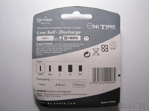 Parte traseira da embalagem das 4 Pilhas AAA NiMH recarregáveis 1.2V 750mAh GS Yuasa Enitime