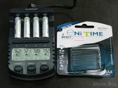 Teste de capacidade das Pilhas AAA NiMH recarregáveis 1.2V 750mAh GS Yuasa Enitime