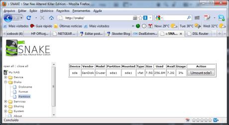 O menu com as partições dos dispostivos de armazenamento conectados ao SnakeOS