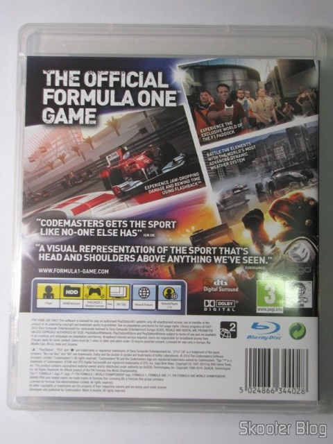 Parte traseira da caixa do F1 2010 (PS3)