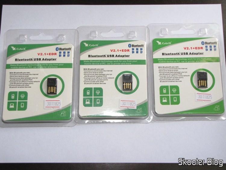 As três embalagens de Mini Adaptador Dongle Bluteooth 2.1 + EDR