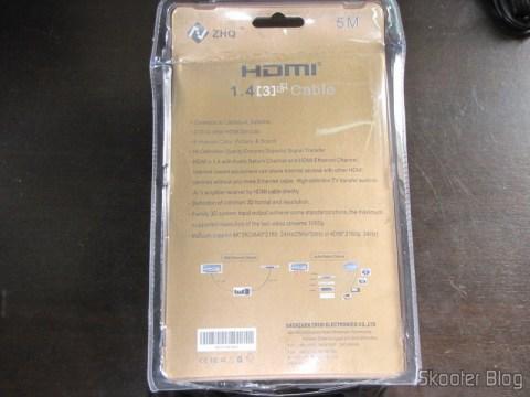 Parte traseira da embalagem do Cabo HDMI v1.4 M-M 1080p banhado a ouro, duplamente blindado com 5 metros