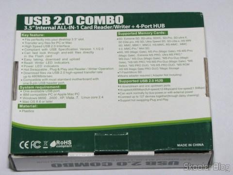 """Parte traseira da caixa do Painel Frontal para baia de 3.5"""" com leitor de cartões SDHC/MS/SD/MMC/TF/M2 e 4 portas USB"""