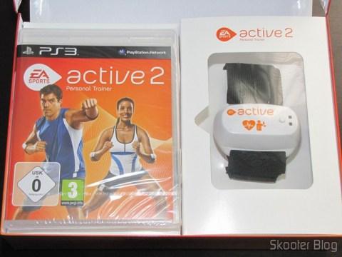Caixa do Blu-ray e sensor de movimento e freqüência cardíaca do EA SPORTS Active 2 do Playstation 3