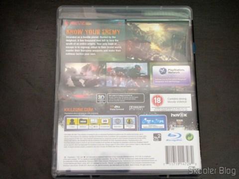 Parte traseira da capa do Killzone 3 (PS3)