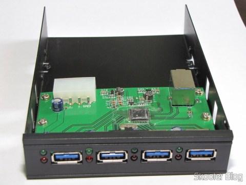 """Painel frontal 3.5"""" com Hub de 4 portas USB 3.0"""