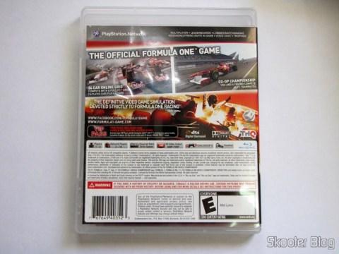 Capa traseira do F1 2011 (PS3)