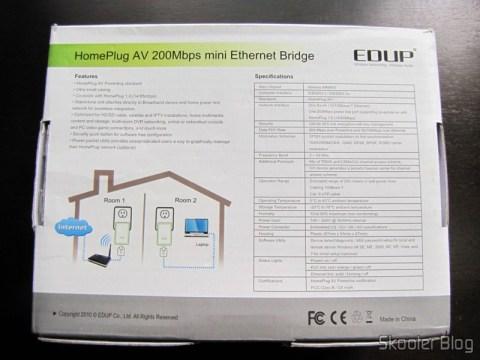 Parte traseira da caixa do Par de Adaptadores de Rede EP-PLC5506 HomePlug Powerline 200Mbps