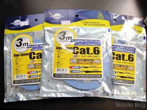 3 Cabos de Rede LAN Plano Cat6 RJ45 p/ Gigabit Ethernet com 3 metros