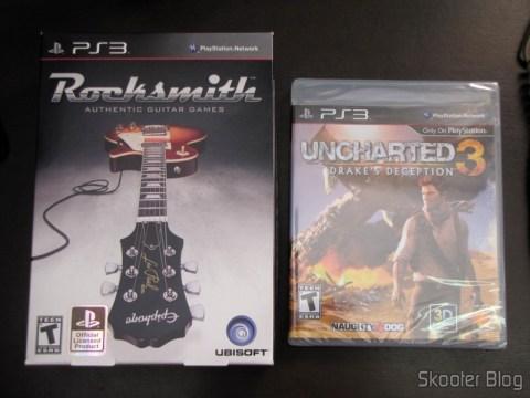 Rocksmith (PS3) e Uncharted 3 (PS3), direto da eStarland nos EUA.