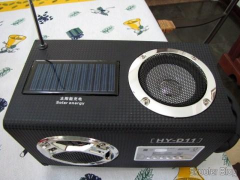Alto-falante superior e célula solar do Rádio de Madeira, Recarregável com Energia Solar, com MP3 Player, FM, Slot SD, Slot USB e Auto Falante com Luzes
