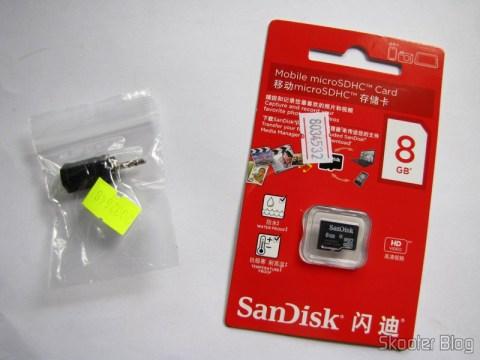 Conversor de plugs de 2.5mm para 3.5mm (2.5mm Male to 3.5mm Female Convertor) e Cartão micro SD Sandisk Genuíno de 8GB (Genuine SanDisk MicroSD/TransFlash TF Memory Card (8GB))