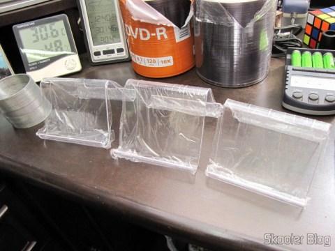Suportes para Celular e Tablet de Plástico Cristal Transparente, ainda plastificados