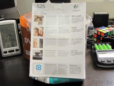 Parte traseira da caixa da Webcam Logitech C525 720P USB 2.0 c/ Microfone Genuína