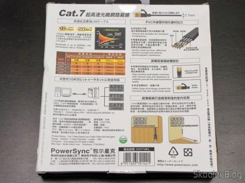 Parte traseira da embalagem do Cabo de Rede LAN Ethernet 4 pares trançados blindados (STP) cat7 10Gbps com 10 metros Ultra Plano PowerSync CCB-78115 ((POWERSYNC) 10M Ultra Flat 10Giga Speed Cat.7 32AWG RJ45 4-Pair STP Ethernet LAN Network Cable CCB-78115)