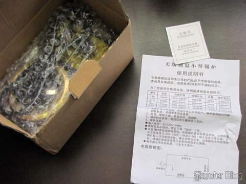 Solder Pot Temperature Controlled 150W 220V - Blue and Gold (150W Temperature Controlled Soldering Pot - Blue + Golden (220In)) still in its box and instruction manual in Chinese