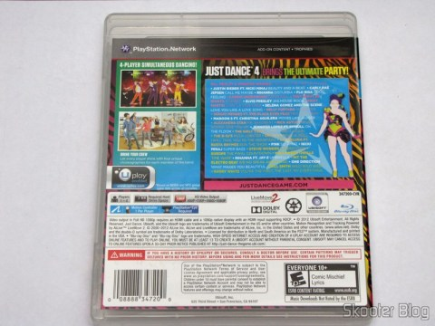 Capa traseira do Just Dance 4 (PS3)