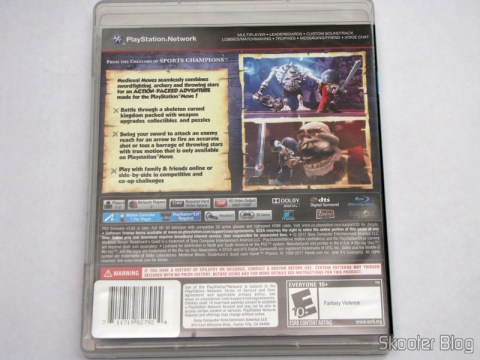 Back of the Medieval Moves box: Deadmund's Quest (PS3)