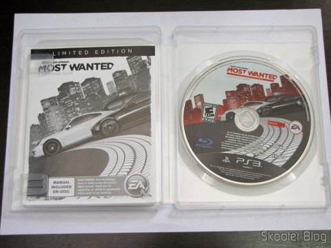 Manual e disco Blu-ray do Need for Speed Most Wanted (2012) (PS3)