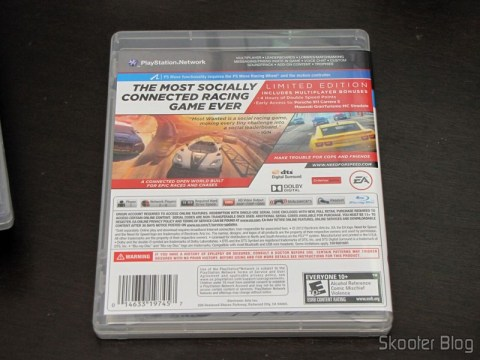 Parte traseira da caixa do Need for Speed Most Wanted (2012) (PS3)