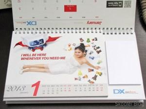 Calendário de Mesa com Cupons de Desconto para os 12 Meses DX 2013 (DX 2013 Desk Calendar with 12 Months' Coupon Codes) - Mês de Janeiro