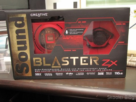 Creative Sound Blaster ZX SBX PCIE Gaming Sound Card with Audio Control Module SB1506 em sua caixa
