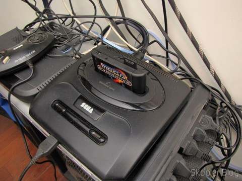 Mega Drive with SCART Audio Video Cable RGB + RCA sound for the Mega Drive III by Tectoy, Japanese and European Mega Drive II, and Sega Genesis 2 and 3 (Sega Mega Drive / Genesis 2 AV RGB Scart cable + RCA sound) connected