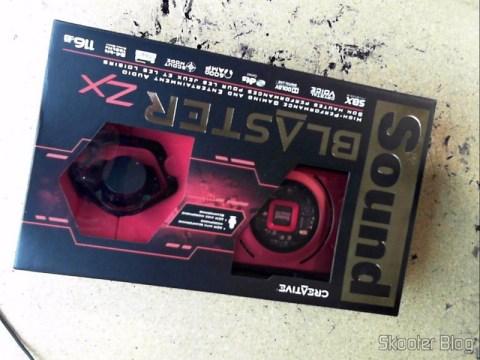 Foto da Caixa da Creative Sound Blaster ZX SBX PCIE Gaming Sound Card with Audio Control Module SB1506 enviada pela Shipito