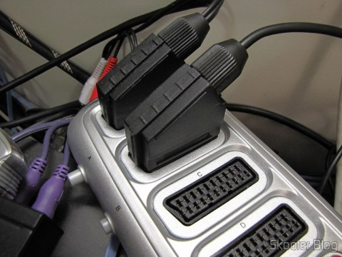 RGB SCART Cable for Super Nintendo (SNES), Super Famicom, Gamecube and Nintendo 64 (RGB Cable), connected to Switch SCART RGB