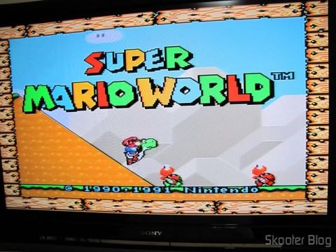 Imagem do Super Nintendo com o Cabo SCART RGB para Super Nintendo (SNES), Super Famicom, Gamecube e Nintendo 64 (RGB Cable)